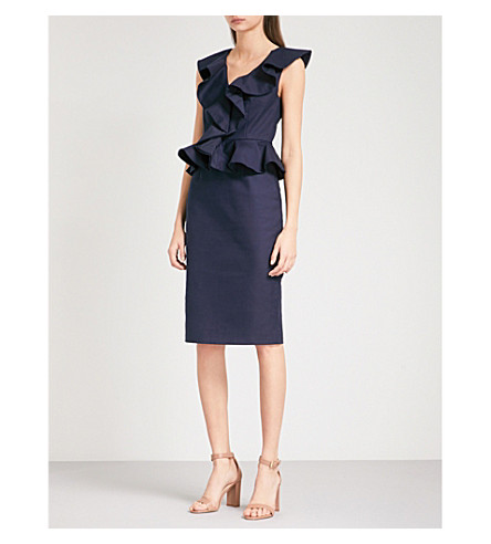 TED BAKER Igune ruffled stretch-cotton dress (Navy