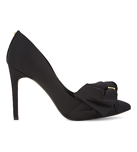 TED BAKER Dorabow satin court shoes (Black