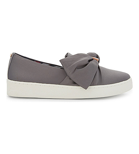 TED BAKER Deyor stain bow slip-on trainers (Grey