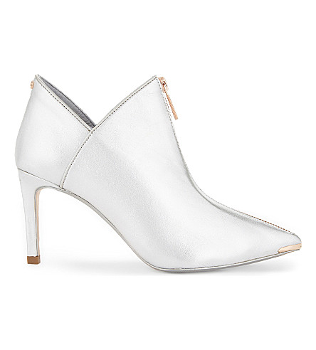 TED BAKER Millae metallic leather ankle boots (Silver