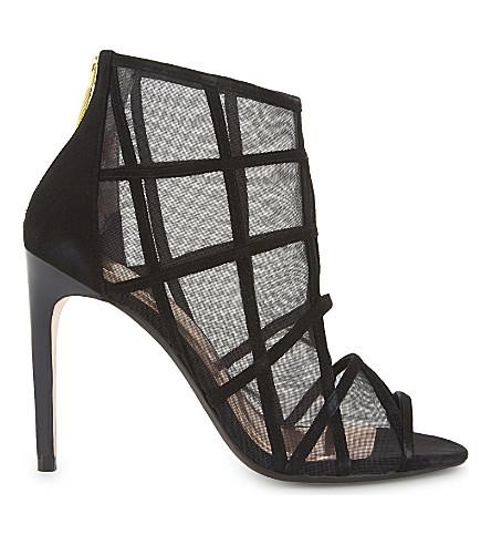 TED BAKER Xstal mesh peep-toe boots (Black