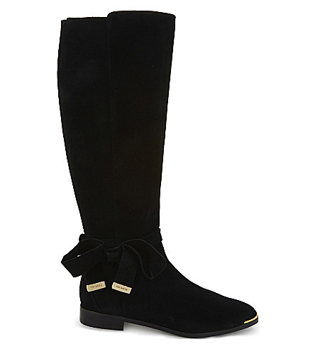 TED BAKER Alrami suede knee high boots (Black