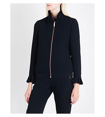 TED BAKER Lydiah ruffled crepe bomber jacket (Black