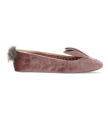 TED BAKER Bellamo velvet bunny ballerina slippers (Dusky+pink