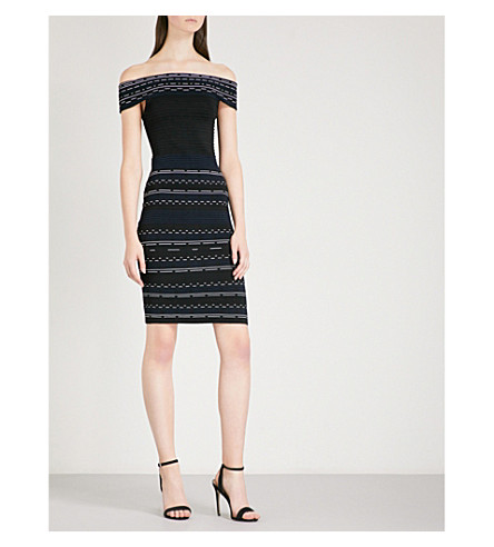 TED BAKER Diraz off-the-shoulder knitted dress (Black