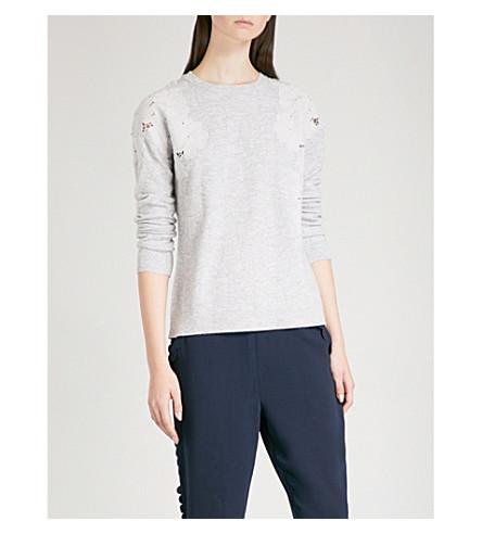 TED BAKER Yizelda floral lace-detail wool-blend jumper (Grey