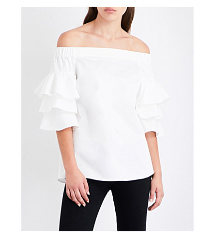 TED BAKER Inbo off-the-shoulder stretch-cotton top (White