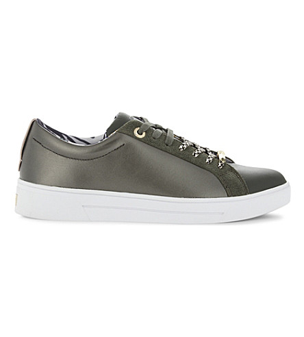 TED BAKER PEHRIE leather trainers (Khaki