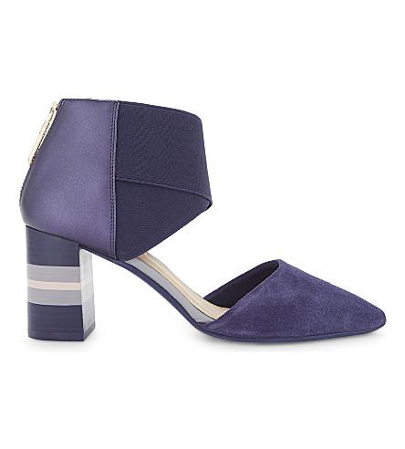 TED BAKER Larmia suede block heels (Navy