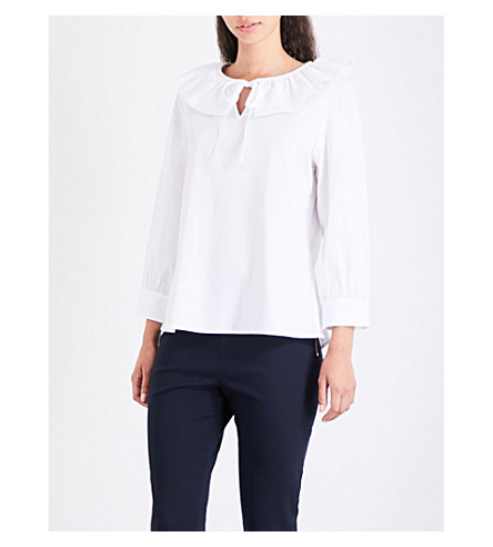 TED BAKER Irysd frill neck cotton-blend top (White