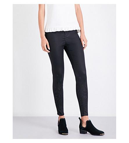 TED BAKER Aymmee printed skinny mid-rise jeans (Black