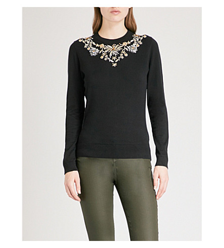 TED BAKER Eliyza embellished silk and cashmere-blend jumper (Black