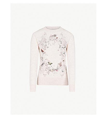 TED BAKER Risolo Enchanted Dream embellished cotton-blend jumper (Pale+pink