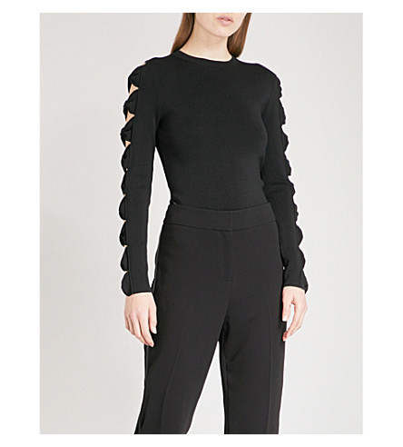 TED BAKER Yonoh bow-embellished cutout knitted jumper (Black