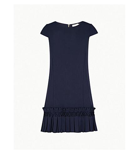 TED BAKER Abana flared-hem crepe dress (Dark+blue