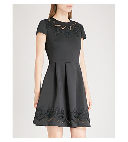 TED BAKER Cheska lace-panelled stretch-jersey mini dress (Black