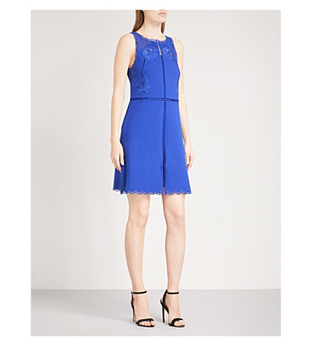 TED BAKER Codi fit-and-flare jersey dress (Mid+blue