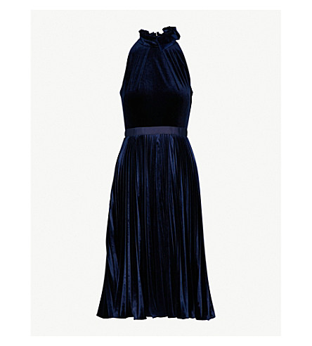TED BAKER Bow-detail fit-and-flare velvet dress (Dark+blue
