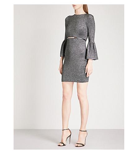 TED BAKER Hanneh fluted metallic-knit mini dress (Black
