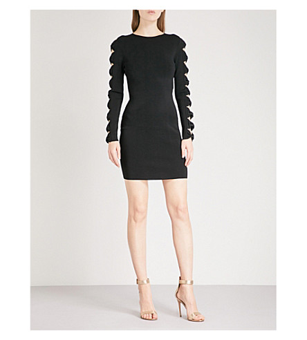 TED BAKER Jayney bow-embellished cutout knitted mini dress (Black