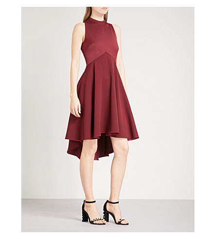 TED BAKER Dropped-hem crepe dress (Maroon
