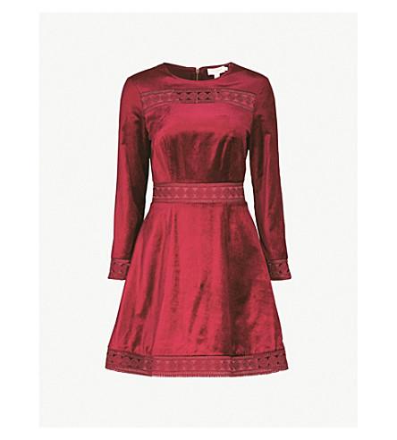 TED BAKER Lullita velvet dress (Maroon