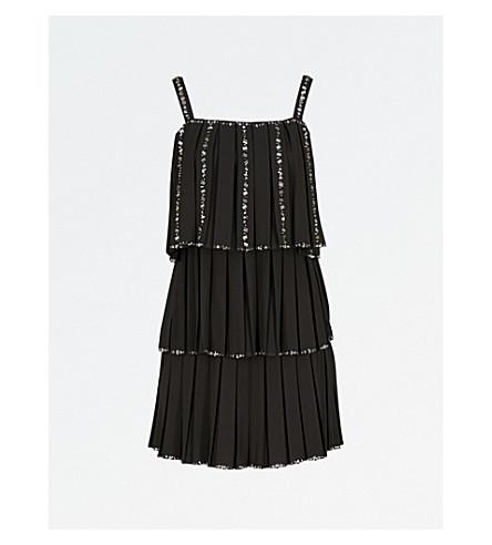TED BAKER Meltea 冷肩装饰绉迷你连衣裙 (黑色