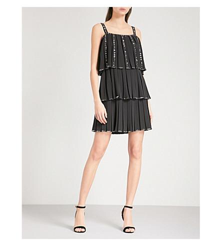 TED BAKER Meltea cold-shoulder embellished crepe mini dress (Black