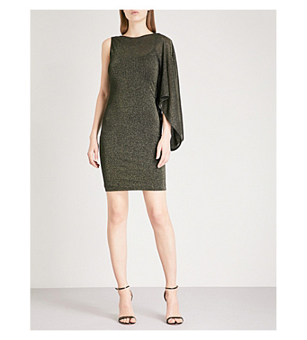 TED BAKER Monyca draped one-shoulder metallic-knit mini dress (Black