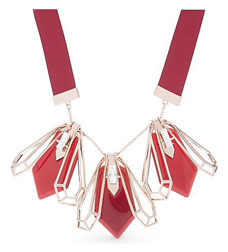TED BAKER Prospa geometric bee ribbon necklace (Oxblood