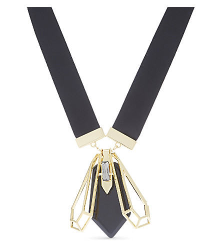 TED BAKER Petina geometric bee pendant necklace (Black