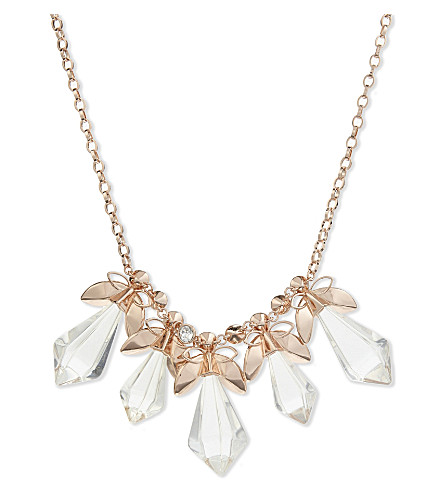 TED BAKER Gembee geometric bee necklace (Clear