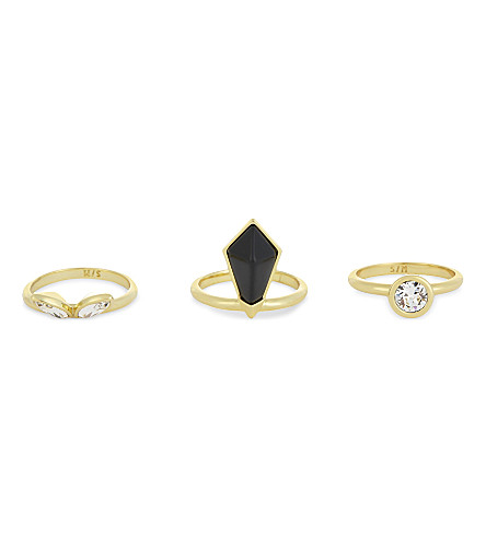 TED BAKER Genalee bee stacking rings (Black