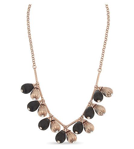 TED BAKER Polina plissé drop necklace (Black