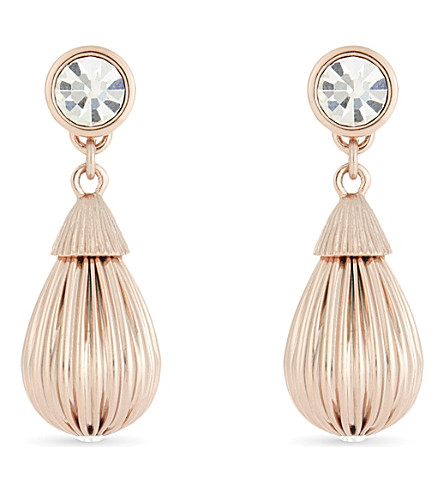TED BAKER PARISI mini plissé drop earrings (Clear