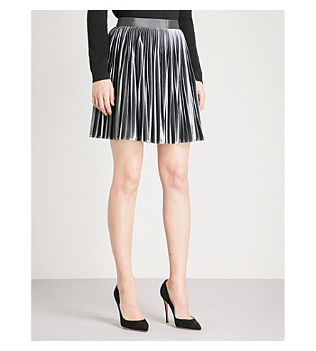TED BAKER Tinnka pleated velvet mini skirt (Gunmetal