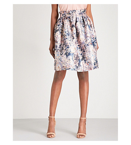 TED BAKER Zevi high-rise jacquard tulip skirt (Light+grey