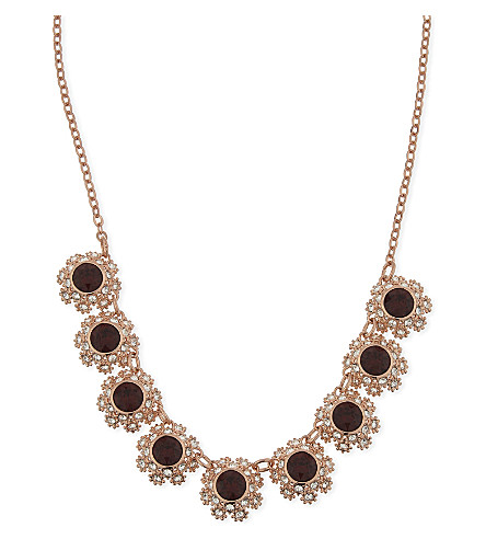 TED BAKER Siero crystal daisy lace necklace (Oxblood