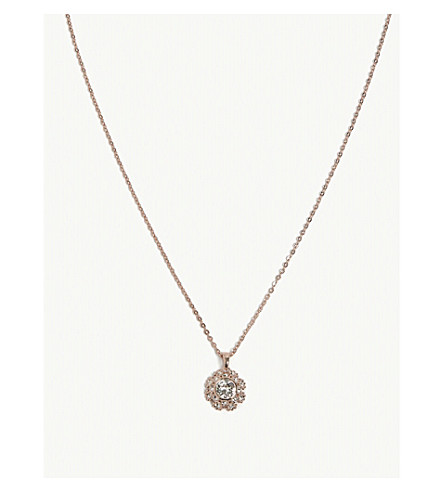 TED BAKER Sirou crystal daisy lace necklace (Clear
