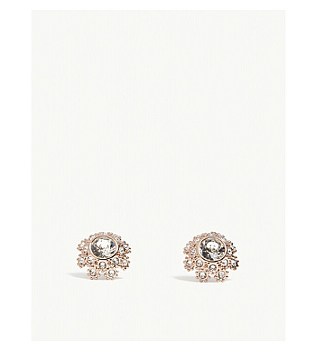 TED BAKER Seraa crystal daisy lace earrings (Clear