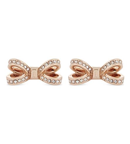 TED BAKER Olitta mini bow stud earrings (Rosegold+col