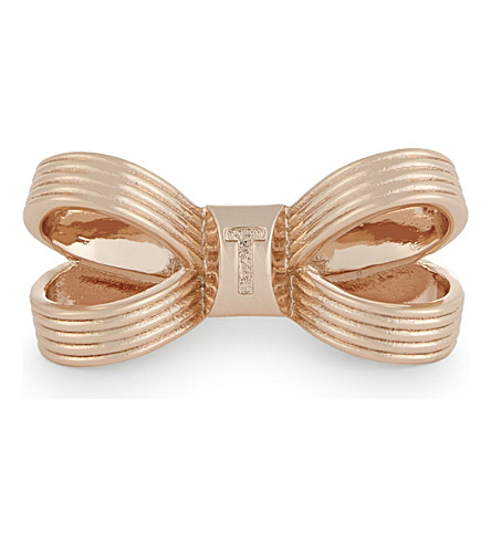 TED BAKER Olka textured loop bow ring (Rosegold+col