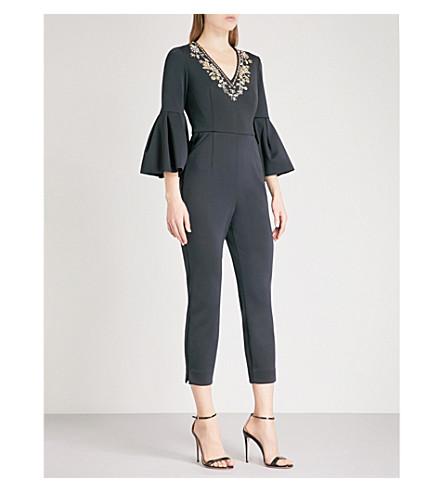 TED BAKER Bead-embellished satin-cady jumpsuit (Black