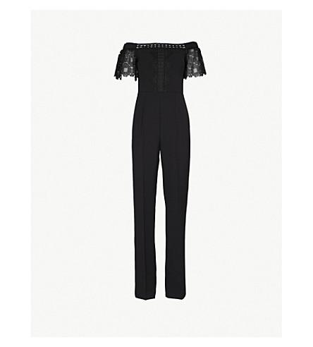 TED BAKER Loreena off-the-shoulder crepe jumpsuit (Black