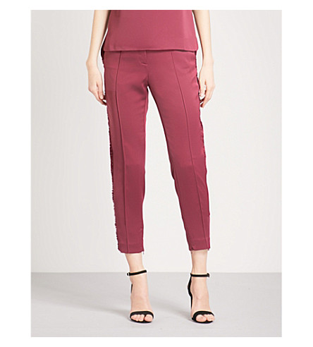 TED BAKER Winny fringed tapered crepe trousers (Maroon