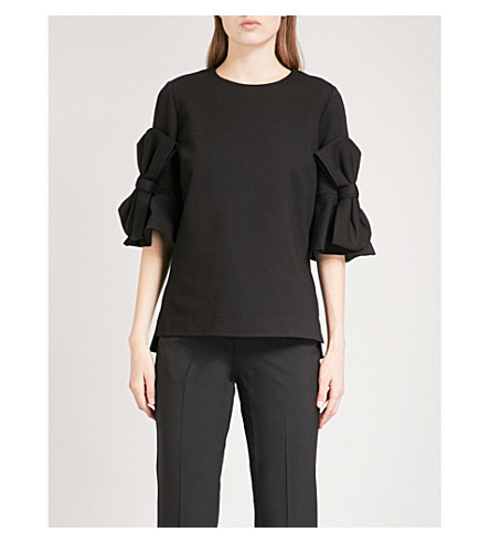 TED BAKER Soaf bow-sleeve stretch top (Black