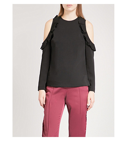 TED BAKER Steffe cold-shoulder ruffled crepe top (Black