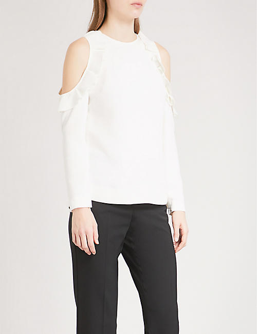 Frill Trim Cotton Blouse Ted Baker