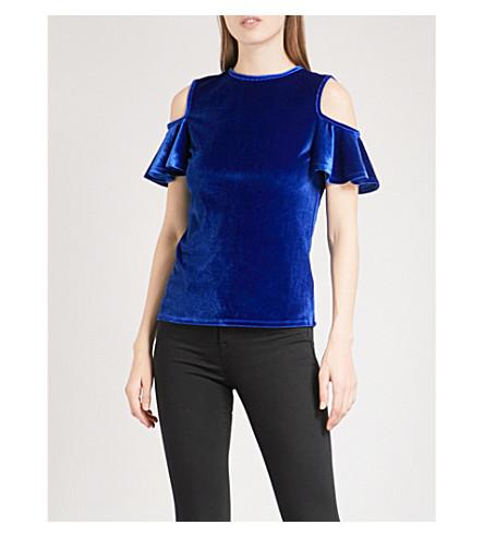 TED BAKER Stellah cold-shoulder velvet top (Mid+blue