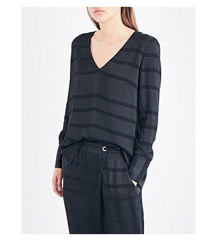 TED BAKER Genina metallic-striped satin-crepe top (Black